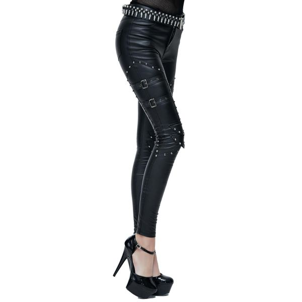 Rock & Metal Skinny Hose im Leder-Look mit Nieten