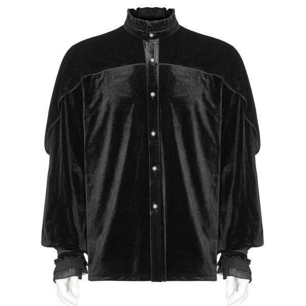 Schwarzes Hemd in Samtoptik mit Ballonärmeln und Cape