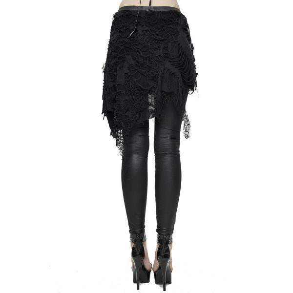 Devil Fashion Leggings im Wetlook mit Fetzen Minirock