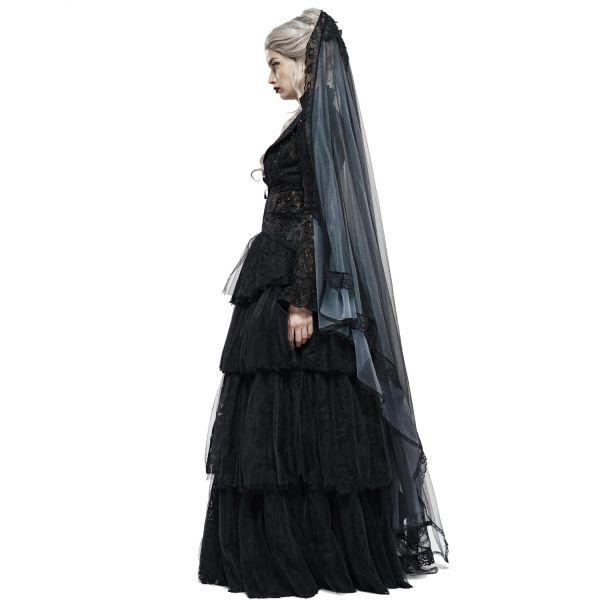 Schwarzer Braut Schleier mit Häkelspitze im Tiara Stil
