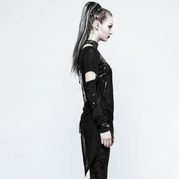 Destroyed Punk Shirt mit Netz und Halsband