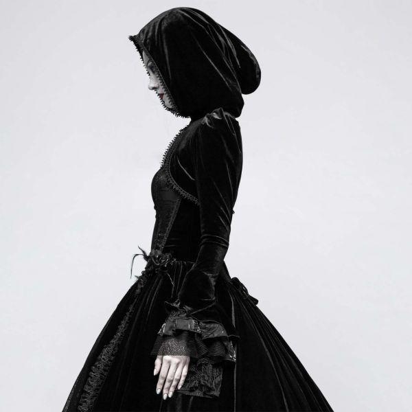 Samt Bolero im Gothic Style mit Kapuze und Rüschen