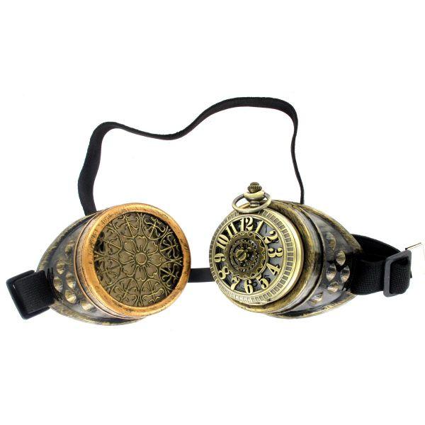 Steampunk Brille mit Taschenuhr und Ornamenten