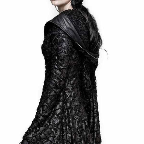 Langes Mantelkleid mit Zipfelkapuze und Trompetenärmeln