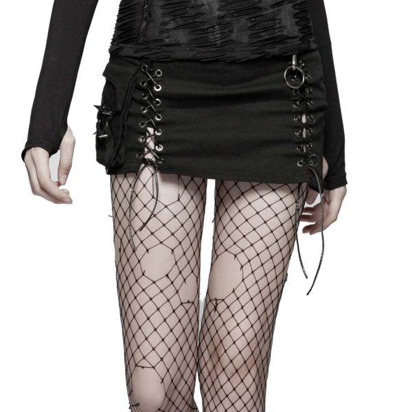 Gothic Minirock mit sexy Schlitzen und Schnürung