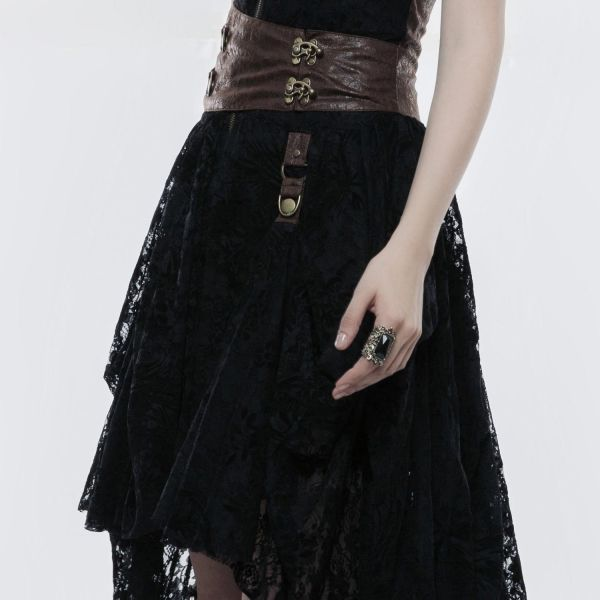 Steampunk Vokuhila Corsagenkleid mit Raffbändern