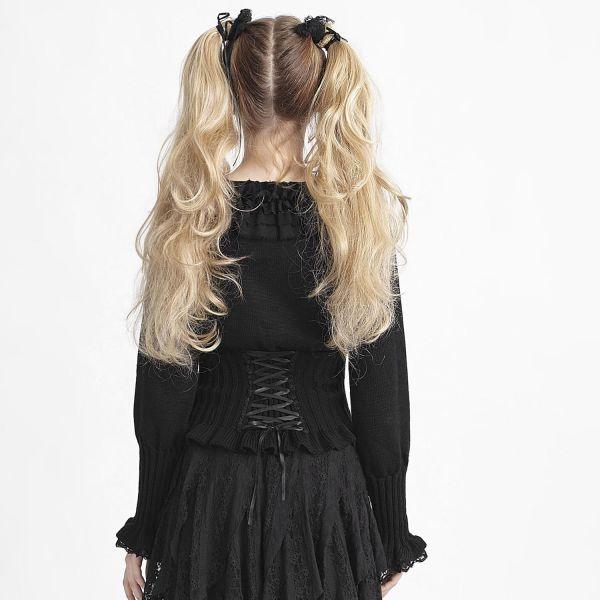 Gothic Lolita Strick Pullover mit Rüschen & Brosche