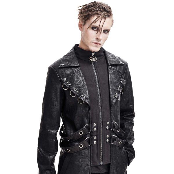 Industrial Mantel in geprägter Leder-Optk mit Riemen