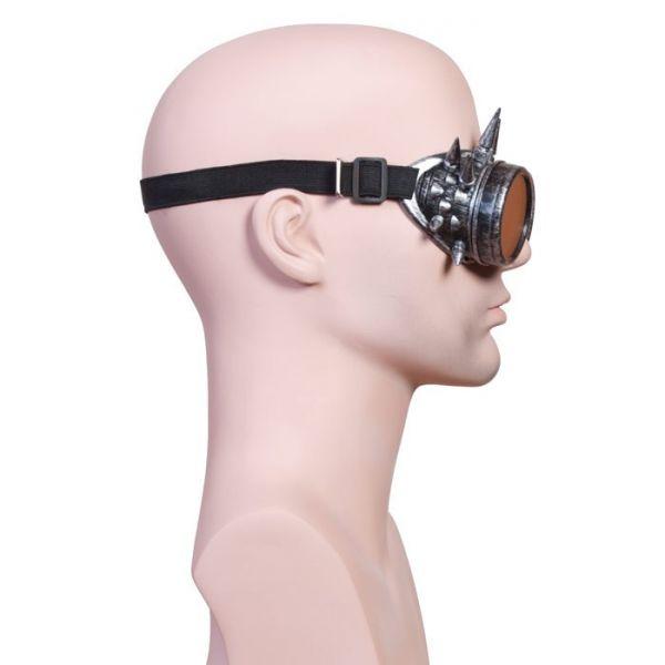 Steampunk Brille mit Spikes silberfarben Goggles