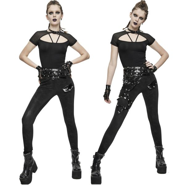 Grunge Jeggings mit Pentagramm Bein Harness in Lack Optik
