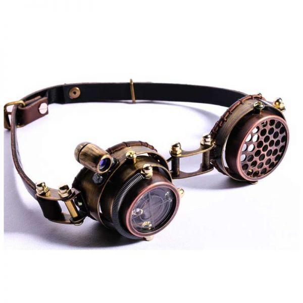 Steampunk Brille mit Wechselgläsern und LED Beleuchtung