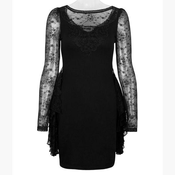 Dark Romantic Minikleid mit Spitze und Rüschen