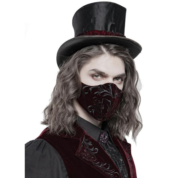 Blutrote Samt Gesichtsmaske mit gesticktem Ornament