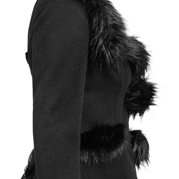 Wintermantel mit grosser Kapuze & schwarzem Teddyfell