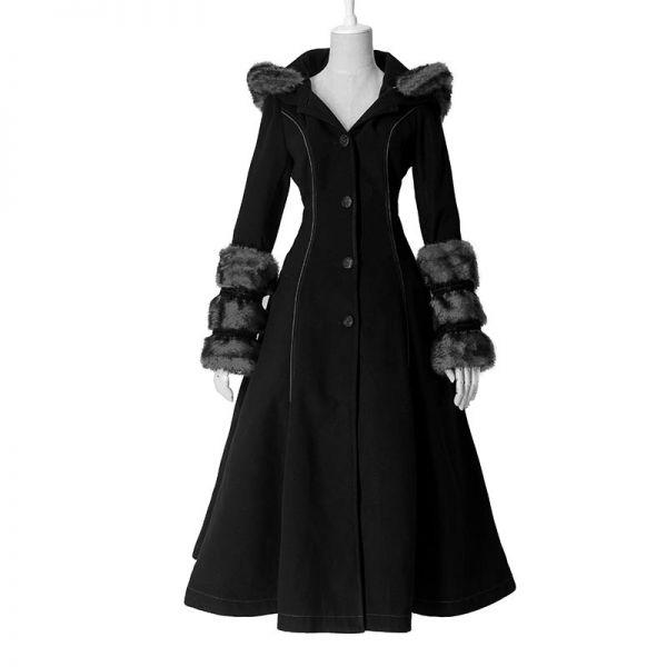 Gothic Lolita Wendemantel mit Kunstfell und Kapuze
