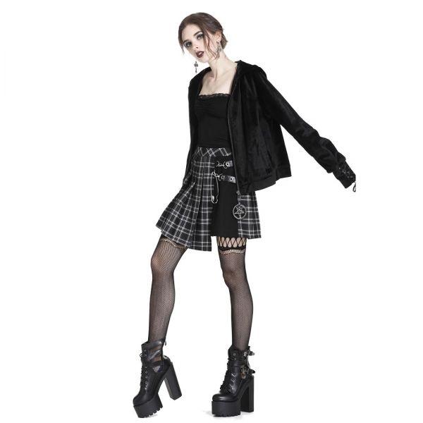 Gothic Minirock in schwarzem Tartan Look
