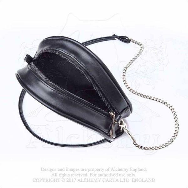 Schwarze Handtasche in Lederoptik mit lila Kreuz
