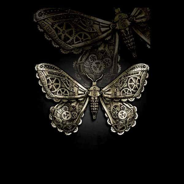 Steampunk Butterfly Haarspange Motte bronzefarben