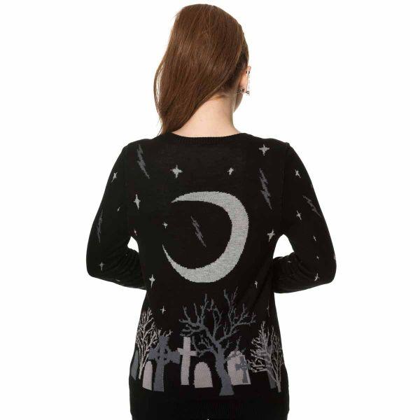 Strick Pullover mit Friedhof und Mond Muster