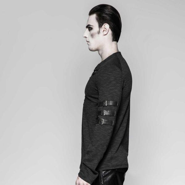 Vintage Langarmshirt mit Schnürung und Riemen