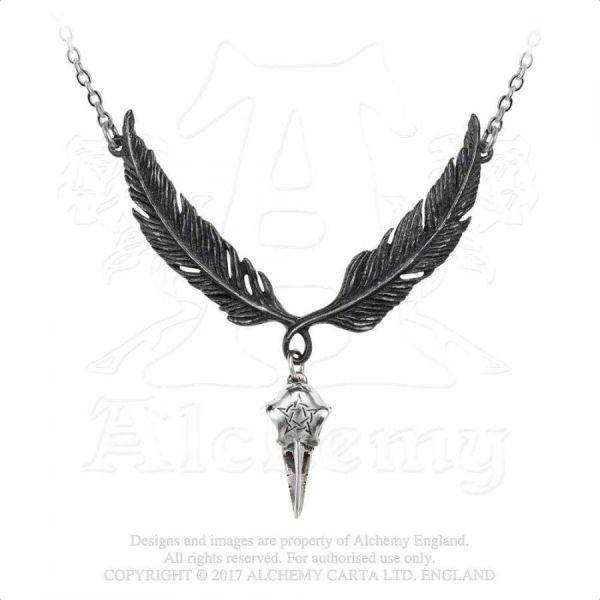 Halskette mit Rabenschädel und Flügeln - Incrowtation
