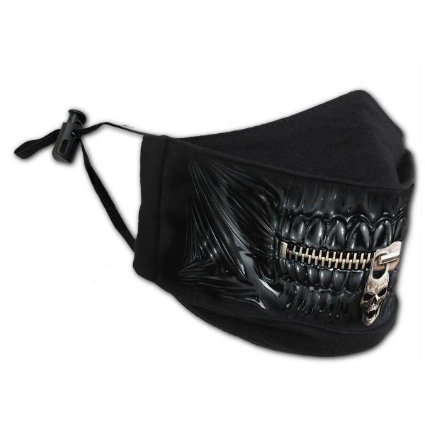 Zipped Mouth Stoffmaske mit verstellbaren Schlaufen
