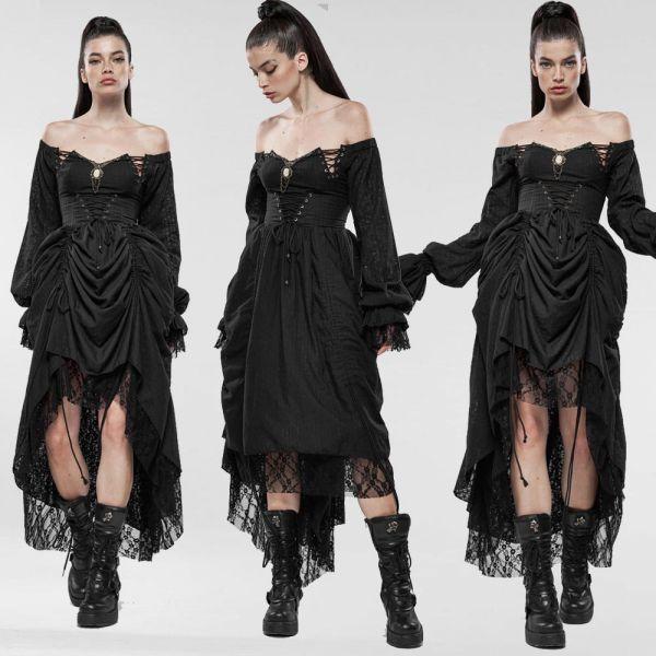 Off-Shoulder Kleid mit Raffrock im Mittelalter Look