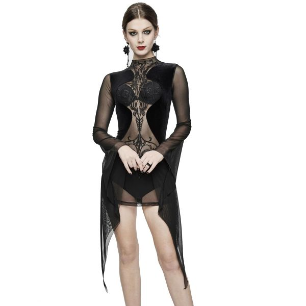 Devil Fashion Kleid aus transparentem Netz mit Ornament