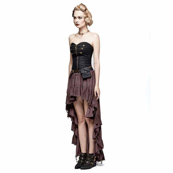 Steampunk Corsagen Vokuhila Kleid im Vintage Look