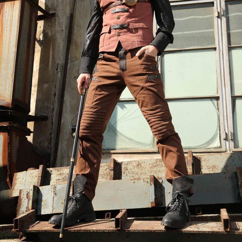 Steampunk Hose mit Kunstleder und Knie Akzentuierung