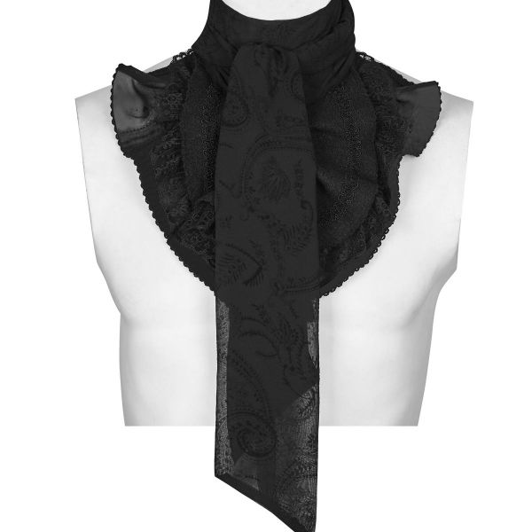 Gothic Rüschenkragen im Brokat Krawatten Look