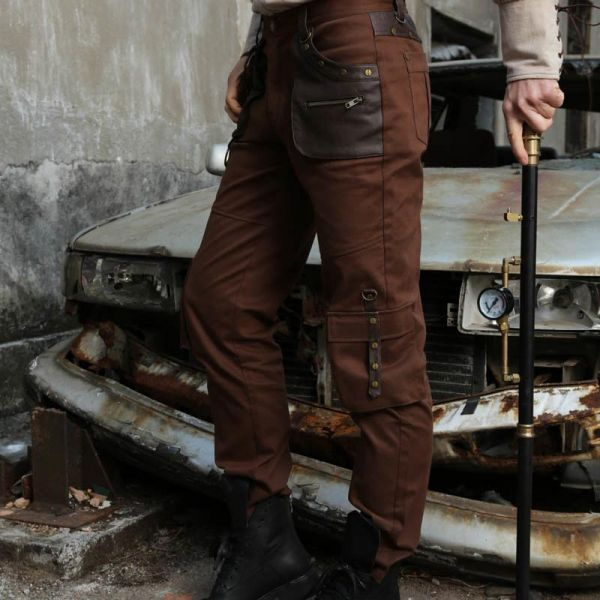 Steampunk Hose mit O-Ringen und Kunstleder Applikation