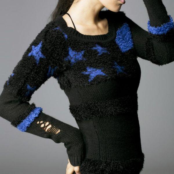 purchase cheap 8a445 54831 Gothic Style Destroyed Pullover mit blauen Sternen