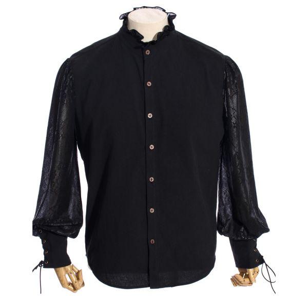 Viktorianisches Hemd mit Ausbrenner Ärmeln und Rüschenkragen