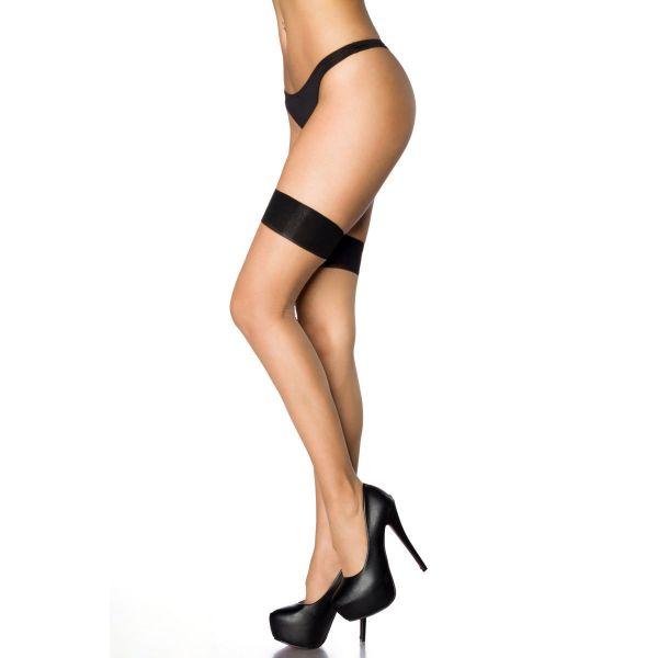 Halterlose Nude Strümpfe mit schwarzer Naht