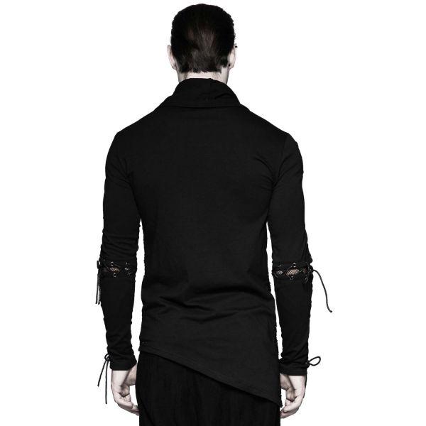 Asymmetrisches Gothic Shirt mit futuristischem Muster