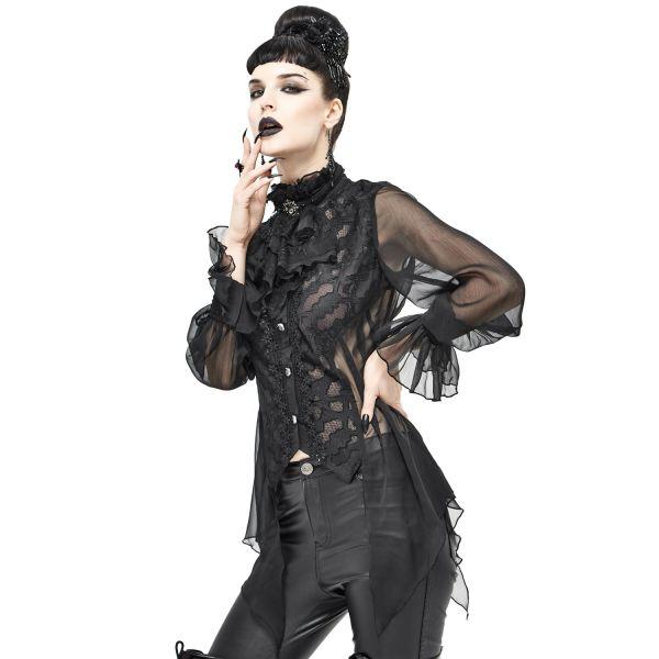 Transparente Bluse im Ausbrenner Look mit Schnürung