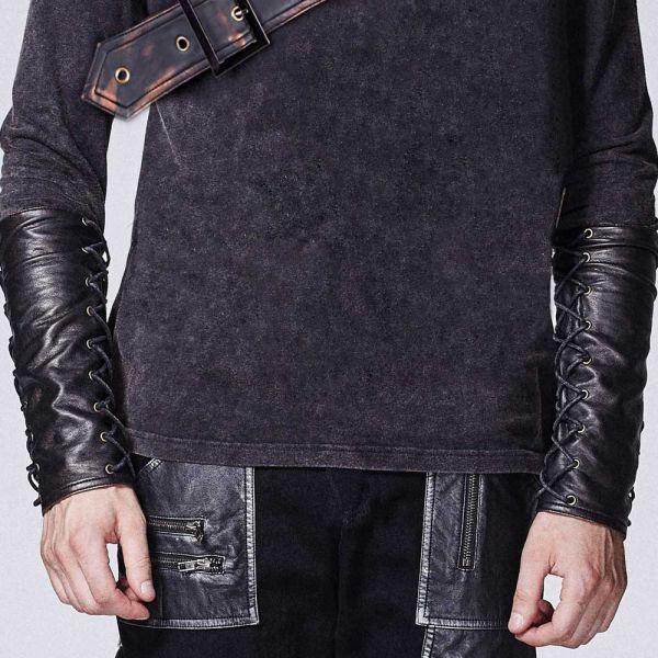 Warrior Shirt mit Kunstleder Manschetten und Rollkragen