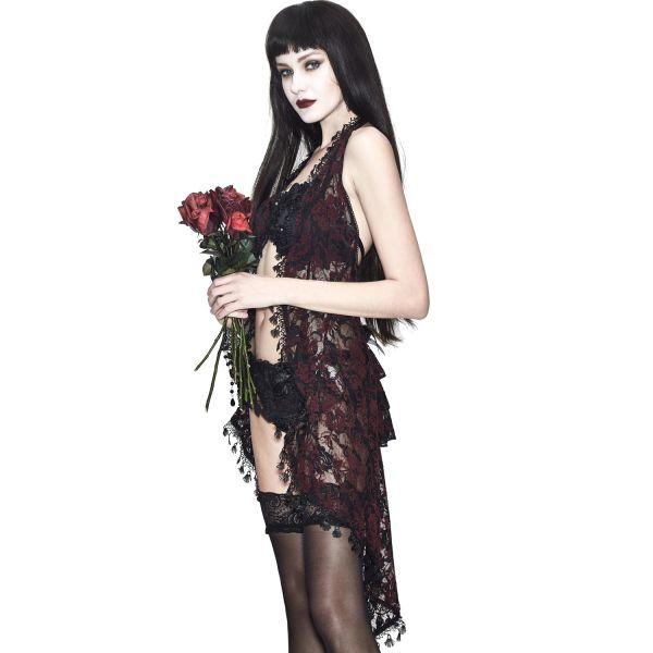 Negligee aus Spitze mit schwarzen und roten Rosenblüten