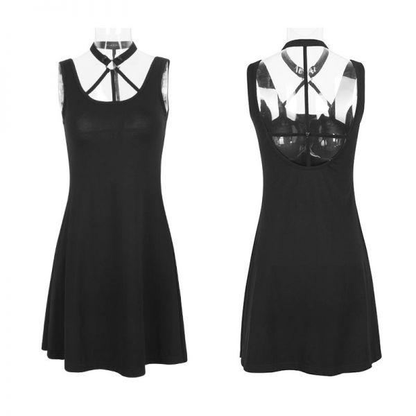 Schwarzes Empirekleid mit raffiniertem Rücken Cut-Out