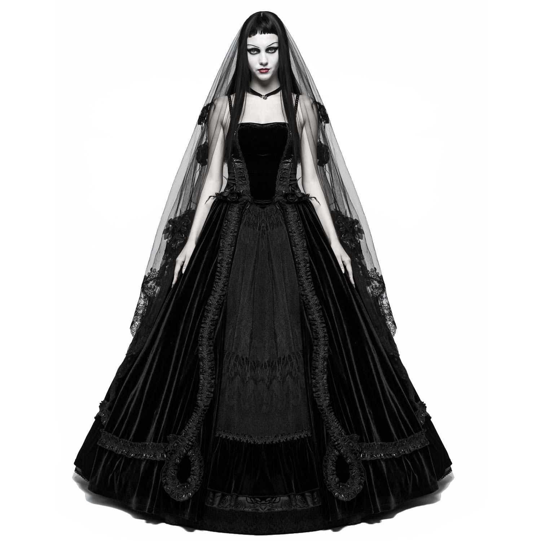 Gothic Hochzeitskleid aus Samt mit Spitze