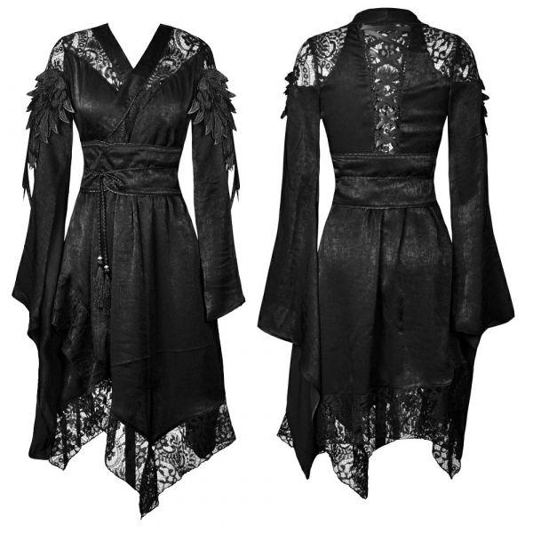 Kimono Kleid mit Flügel Applikationen und Spitze
