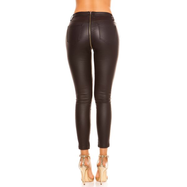 Heisse Skinny Hose im Fetisch Lederlook mit Zipper