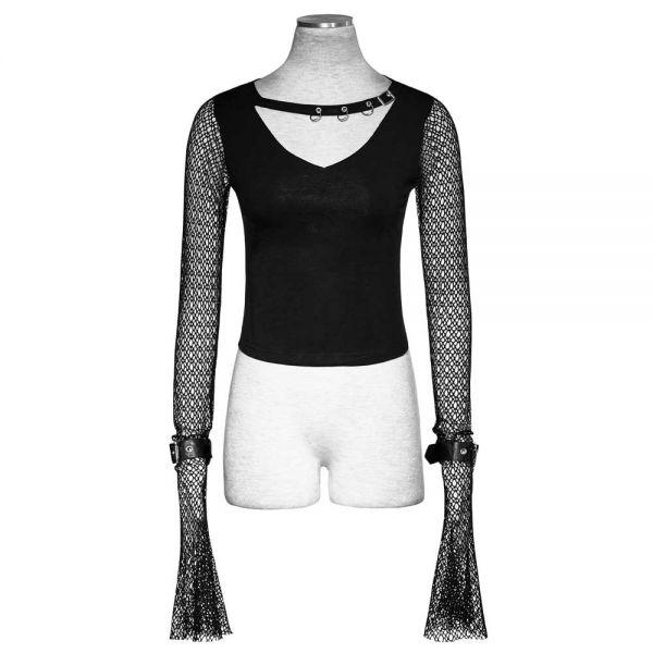 Punk Shirt mit Halsband und langen Netzärmeln mit Riemen