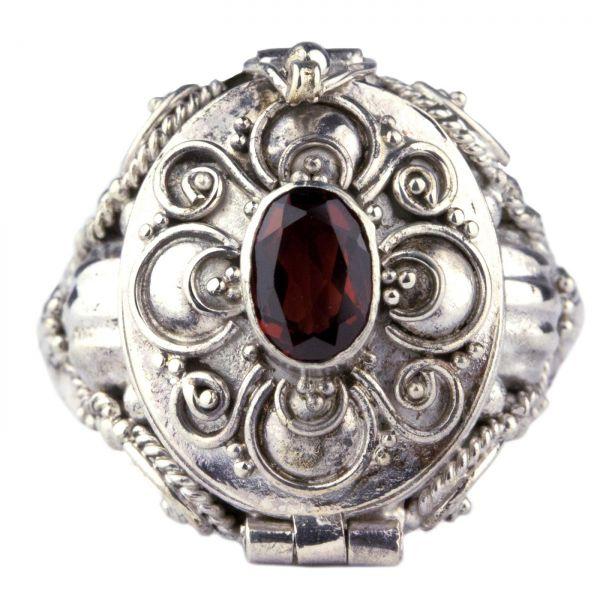 925er Silber Giftring im Antik Look mit Granat