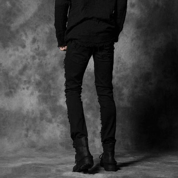 Gothic Hose mit Rissen und Nieten im Used Look