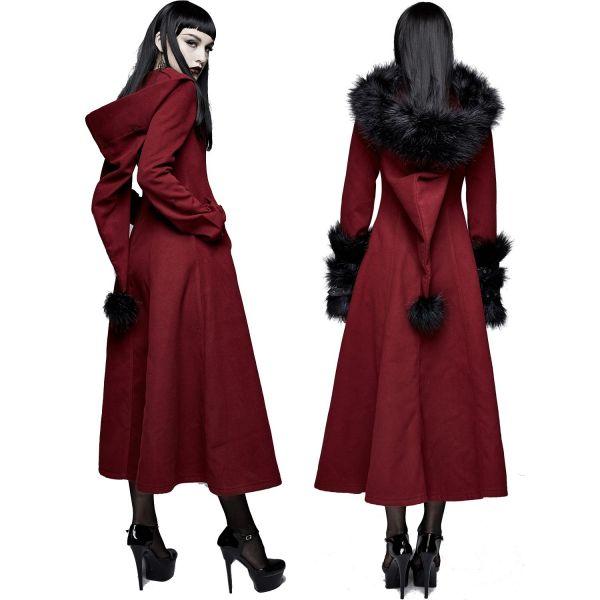 Roter Wintermantel mit abnehmbarem schwarzem Kunstfell