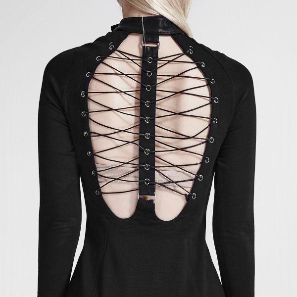 Langes schwarzes Kleid mit Bondagekragen und Schnürung