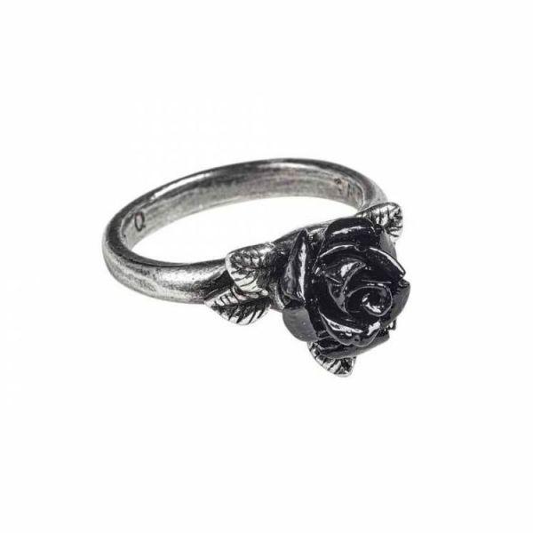Token of Love Ring mit schwarzer Rosenblüte