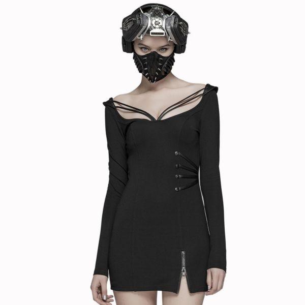 Punk Minikleid im Bodycon Style mit Riemchen